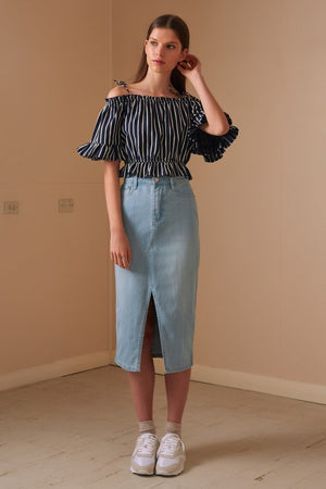 Poppy Stripe Top Navy w/ White