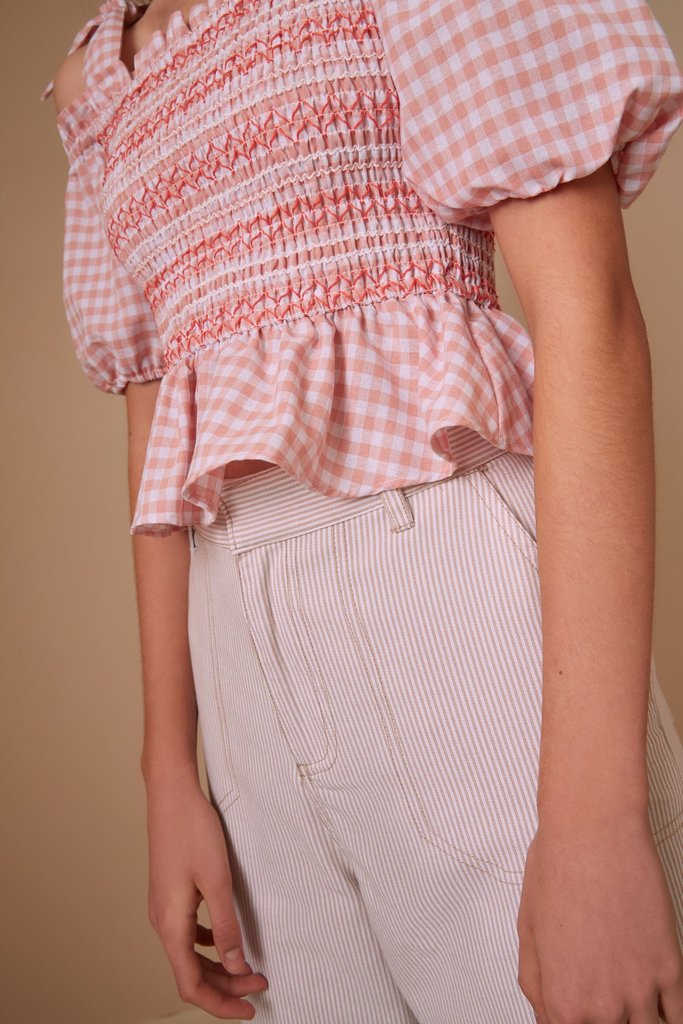 Iris Check Top Peach w/ White