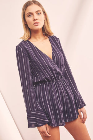 Coast Stripe Playsuit Navy w/ White