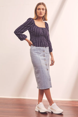 Coast Stripe Top Navy w/ White