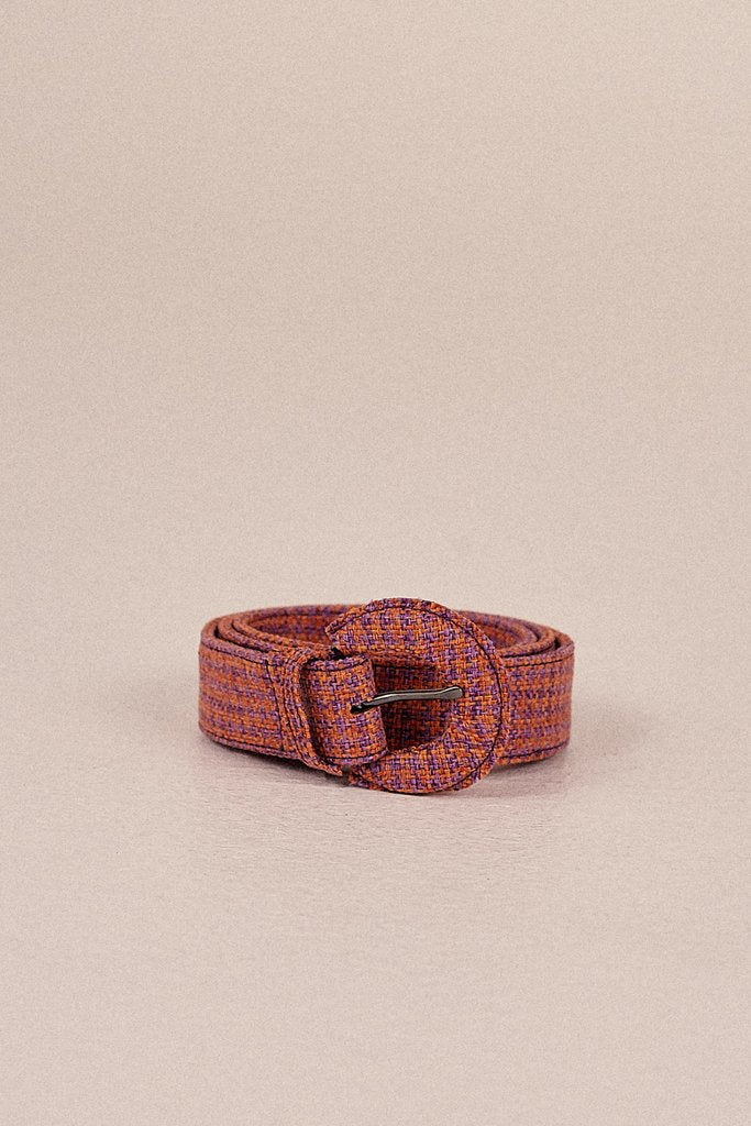 Buckle Belt Houndstooth Orange