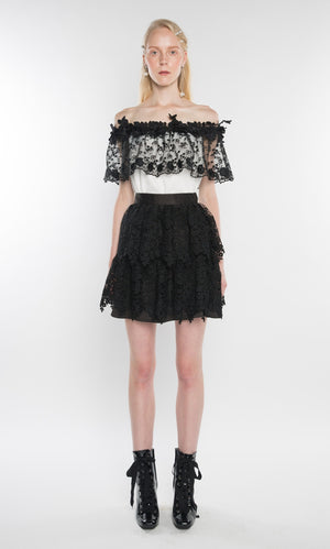 LA BOUTIQUE Lace Mini Skirt Black - Sallyrose