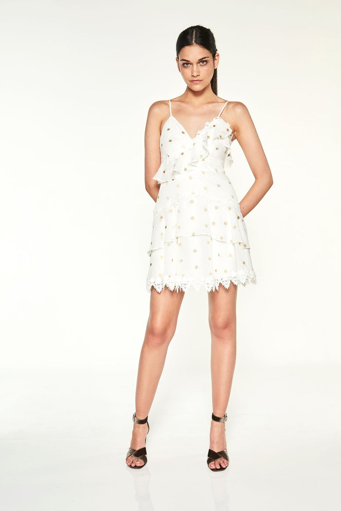 Solace Mini Dress White w/ Gold Spot