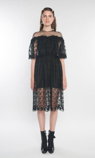 LA BOUTIQUE Lace Midi Dress Black