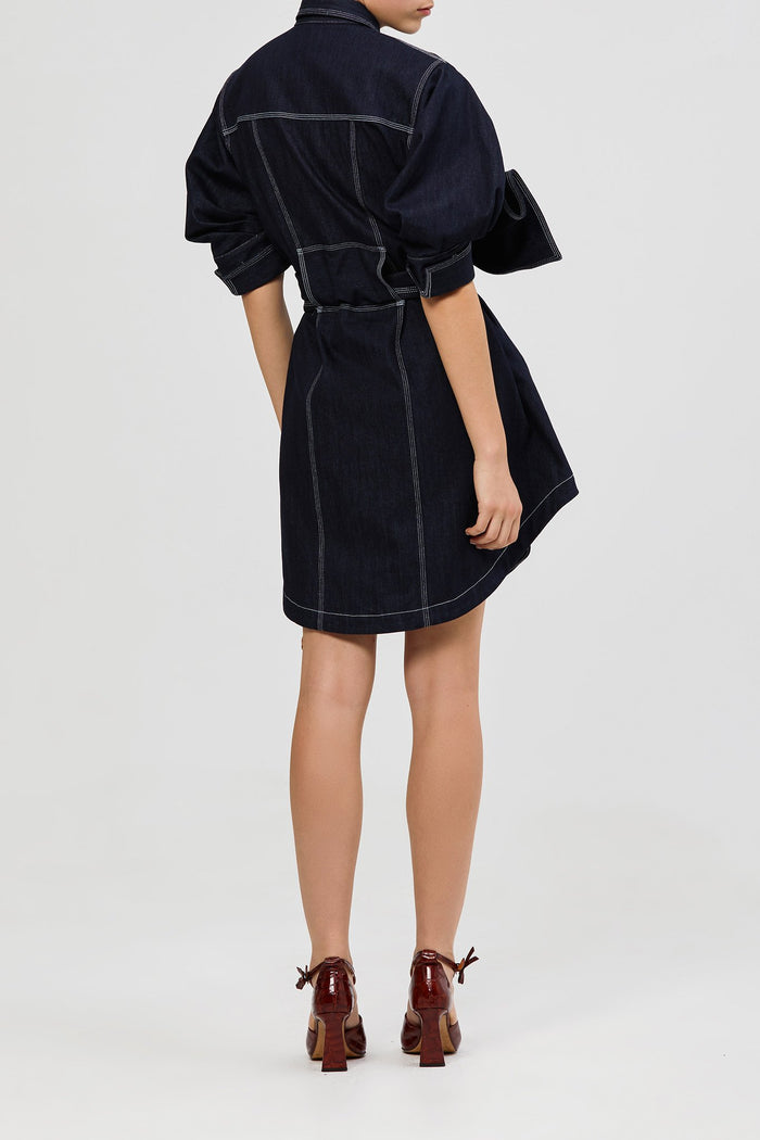 Priestly Denim Dress Dark Navy