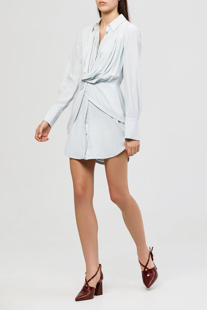 Alma Silk Shirt Dress Ice Blue