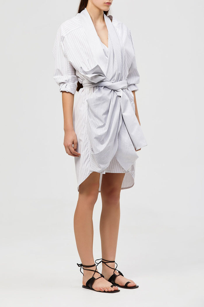 Lincole Shirt Dress Grey Stripe Mix