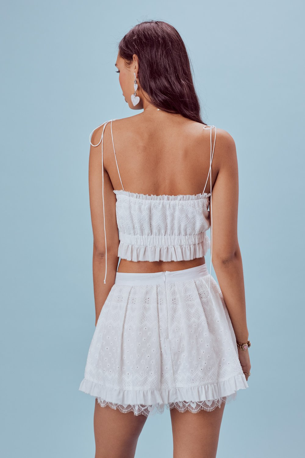 Charlotte Eyelet Mini Skirt White Heart
