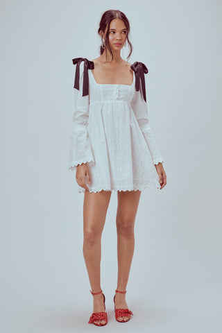 Charlotte Eyelet Babydoll Dress White Heart