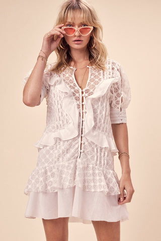 Charlotte Lace Mini Dress White