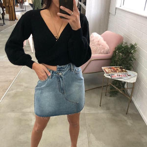 Jilted Denim Mini Skirt Blue