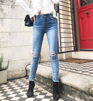 Amanda Pearl Denim Jeans Blue