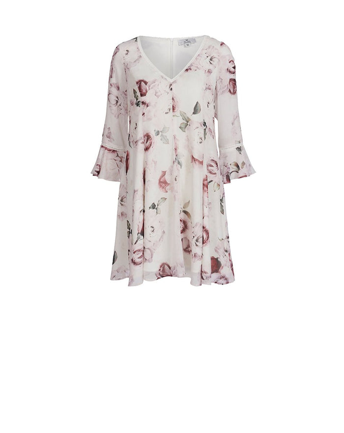 Jemima Frill Sleeve Dress White Rose