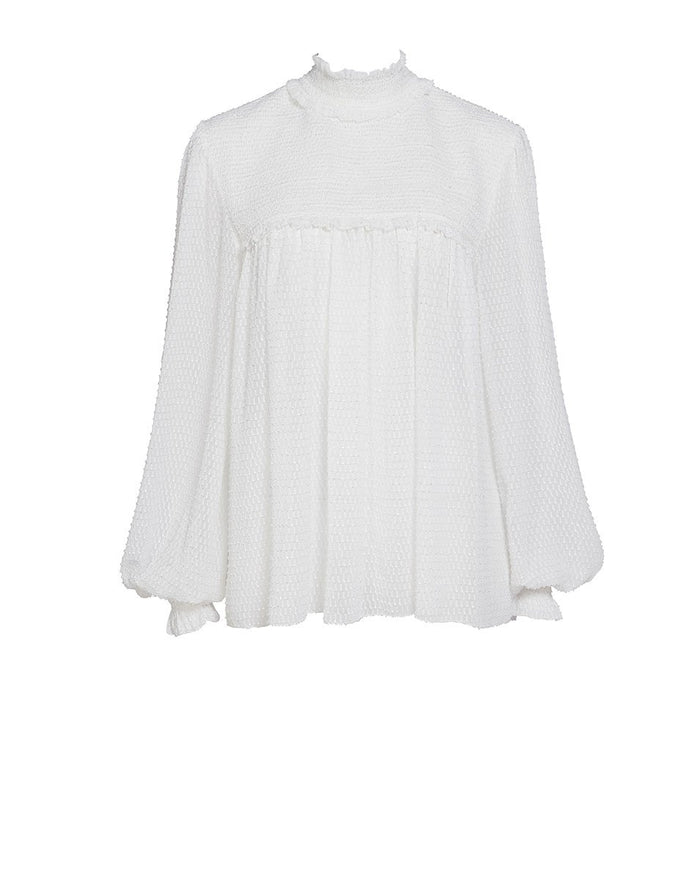 Elodie Pintuck Blouse Snow