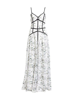 Madison Caged Maxi Dress - White Bouquet- Devore