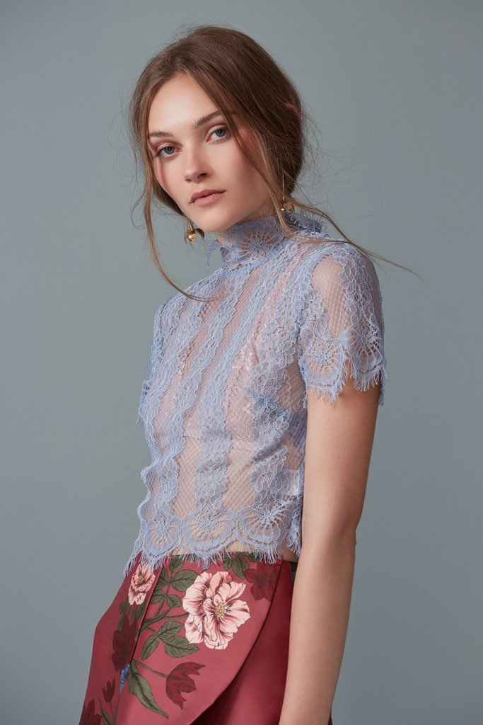 BETTER DAYS LACE TOP dusty blue - Sallyrose