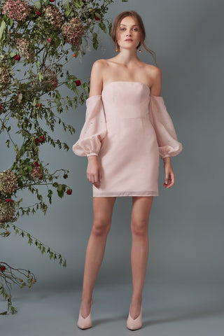 CALL ME LONG SLEEVE MINI DRESS blush