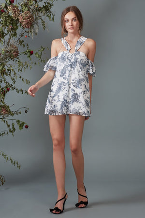 GO WITH IT ROMPER ivory paisley - Sallyrose