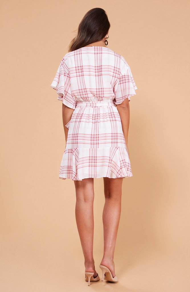 Dolly Frill Wrap Dress Pink Check