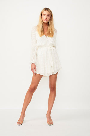Alchemy Lurex Belted Mini Dress Cream