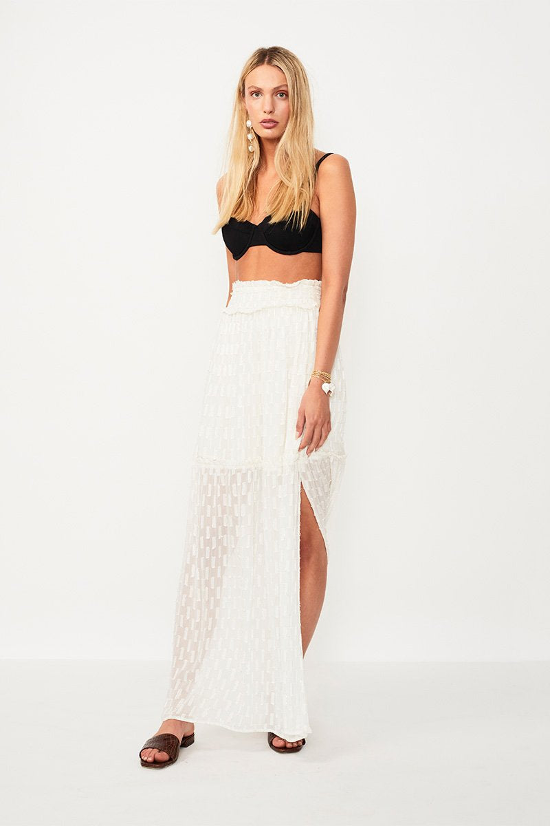Alchemy Lurex Maxi Skirt Cream