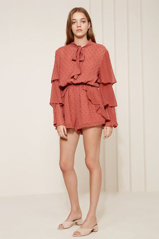 Freya Long Sleeve Playsuit Cinnamon