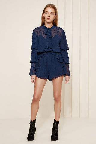 Freya Long Sleeve Playsuit Navy