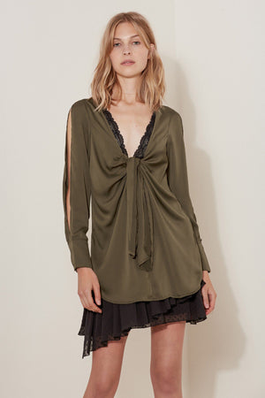 Changing Course Long Sleeve Top in Deep Khaki - Sallyrose