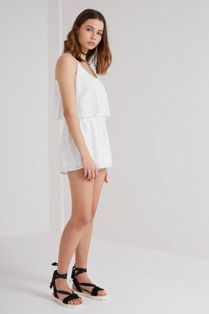 New Wave Playsuit in White - Sallyrose