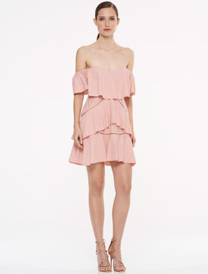 Penelope Off Shoulder Mini Dress Rose Dust - Sallyrose