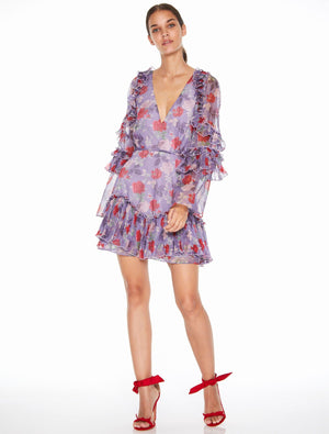Femme Flounce Mini Dress Lilac Rose