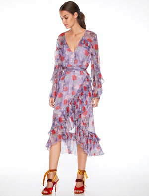 Femme Flounce Wrap Midi Dress Lilac Rose