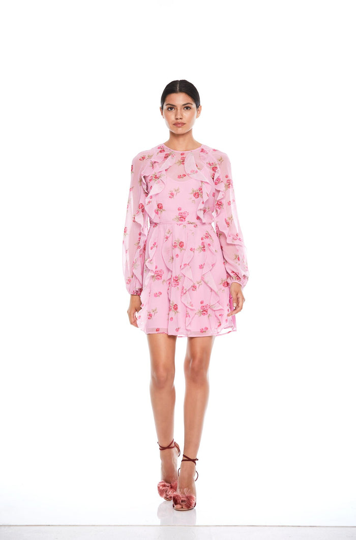 Blushing Flounce L/S Mini Dress Pink Rose