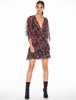 Jet Rose Mini Dress Black Rose