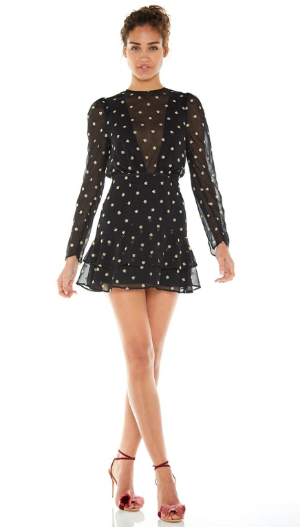Heart Fire L/S Mini Dress Black