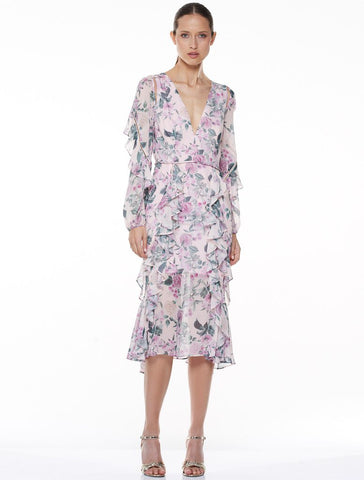 Floral Pleasure L/S Midi Dress