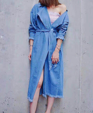 The End Denim Trench Blue