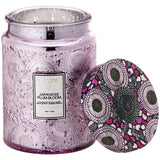 VOLUSPA Japanese Plum Bloom Large Embossed Glass Jar Candle