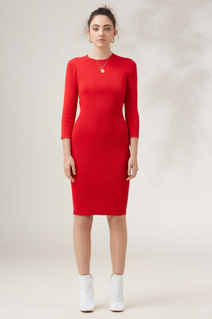 Earthbound Knit Dress Red - Sallyrose