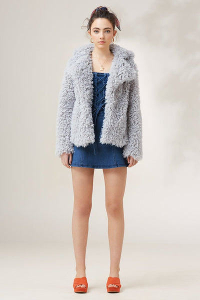 Echelon Fur Coat Baby Grey - Sallyrose