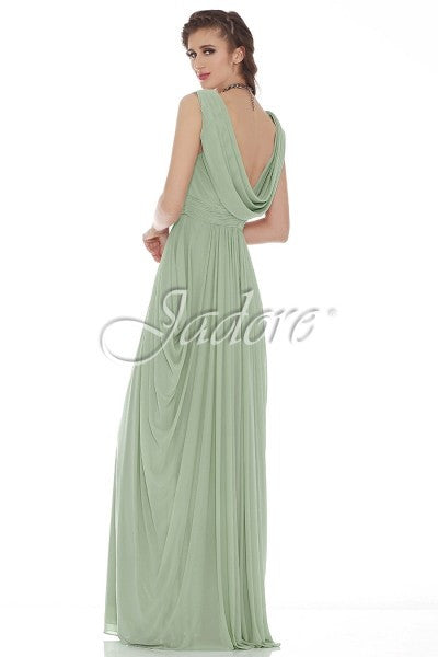 Grecian V neck Drape Back Formal