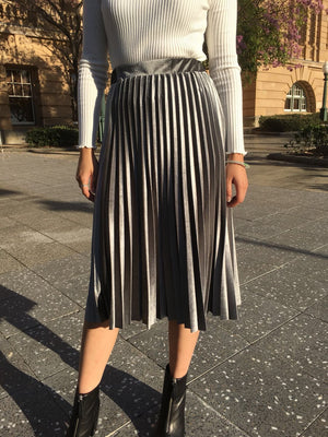 Brass Velvet Midi Skirt Charcoal