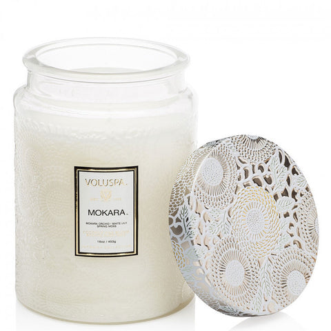 VOLUSPA Mokara Large Embossed Glass Jar Candle