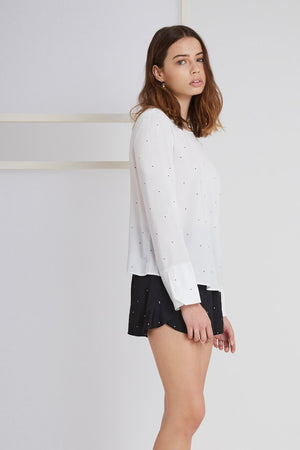 New Wave Long Sleeve Top in White - Sallyrose
