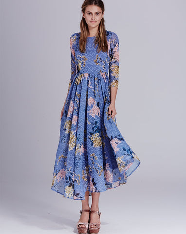 Blossom Button Back Dress Blue Wysteria