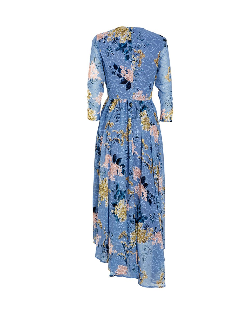 Blossom Button Back Dress Blue Wysteria - Sallyrose