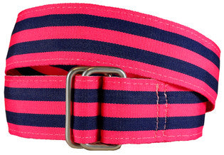 Belted Cow Georgetown Belts - Pink/Navy - Legit Lacrosse, Inc.