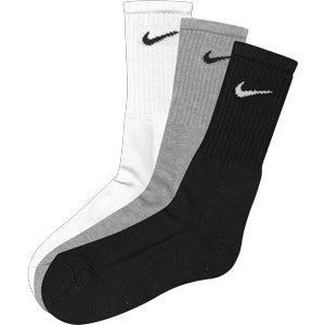Nike Cushioned Crew Cut Socks 3 Pack White,Black,Grey - Legit Lacrosse, Inc.