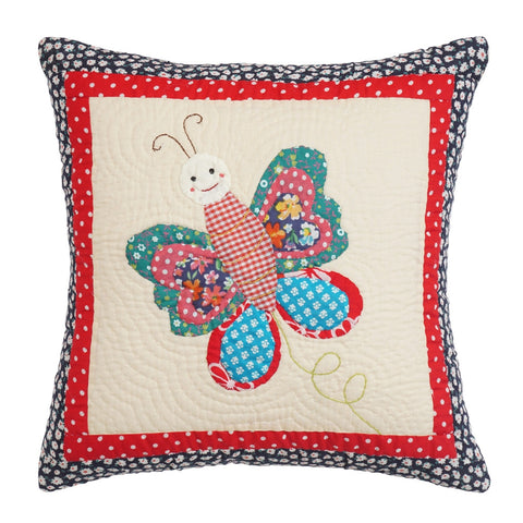 Cushion Cover Kids Butterfly Hand Embroidered 16 x 16 Cotton