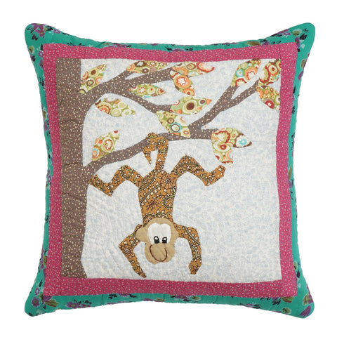 Cushion Cover Kids Monkey Hand Embroidered 16 x 16 Cotton